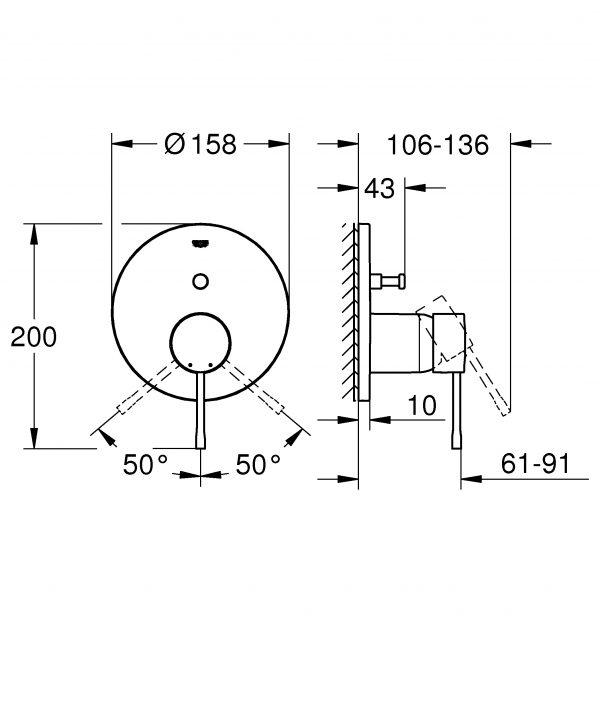 Zdjęcie Podtynkowa bateria do obsługi dwóch wyjść wody Grohe Essence cool sunrise 24058GL1