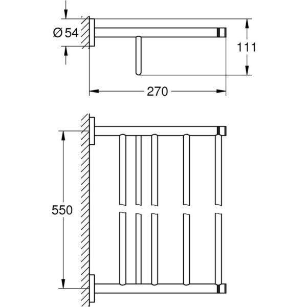 Zdjęcie GROHE Essentials – półka z wieszakiem na ręczniki  brushed warm sunset  40800DL1
