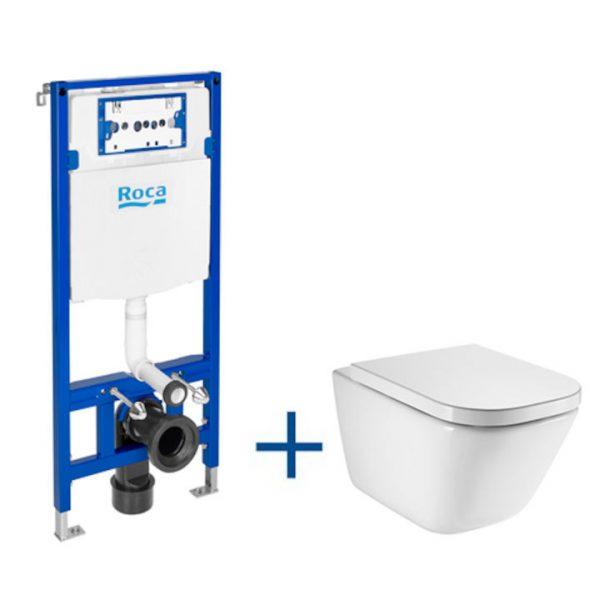 Zdjęcie Zestaw podtynkowy Duplo 50×112 cm+ miska WC podwieszana Roca Gap Square Rimless 34×54 cm + deską A893104490