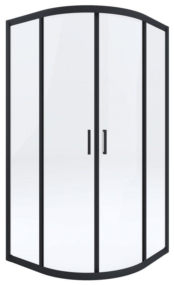 Zdjęcie Kabina prysznicowa czarna Deante Funkia półokrągła 90 cm szkło transparentne KYP_N51K