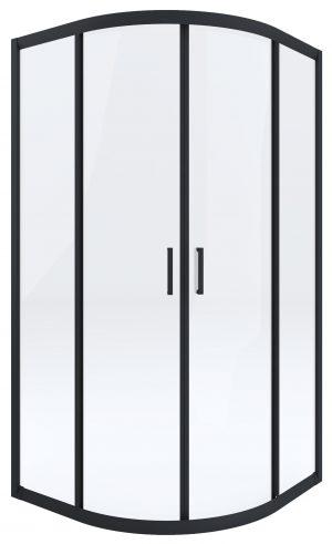 Kabina prysznicowa czarna Deante Funkia półokrągła 80 cm szkło transparentne KYP_N52K