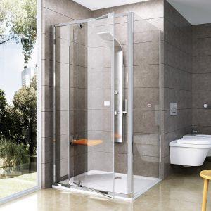 Drzwi prysznicowe Ravak Pivot PDOP2 połysk+transparent 110 cm 03GD0C00Z1