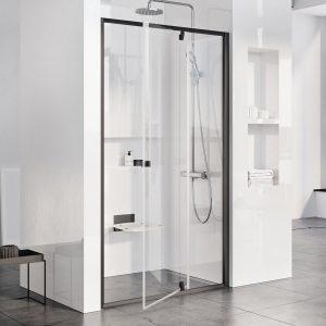 Drzwi prysznicowe Ravak Pivot PDOP2 black+transparent 120 cm 03GG0300Z1
