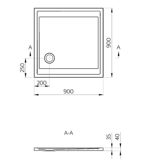 Zdjęcie Brodzik kwadratowy Marmite Pure kompakt 90×90 cm biały 0005 624879092003
