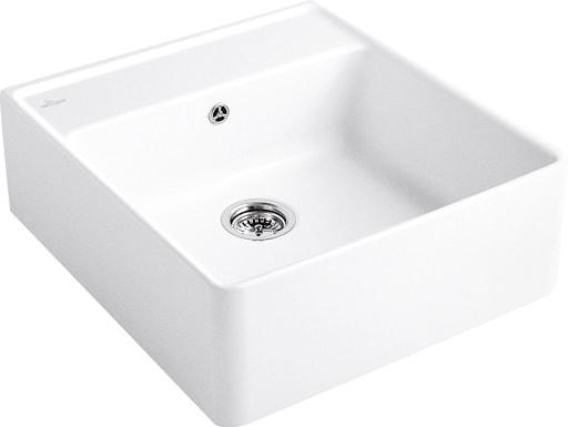 Zlewozmywak ceramiczny jednokomorowy Villeroy & Boch Single-bowl Sink weiss alpin biały 595 x 220 x 630 mm 632061R1