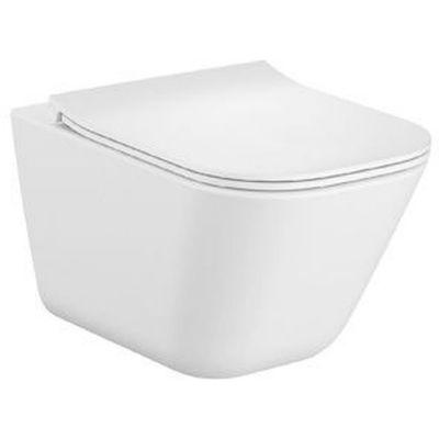 Miska podwieszana WC Rimless Square z deską wolnoopadającą ULTRASLIM (zestaw) Roca Gap 54x37,5 cm biały A34H472000