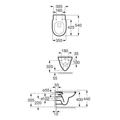 Zdjęcie Miska podwieszana WC Rimless Round z deską wolnoopadającą SLIM (zestaw) Roca Debba 35,5×54 cm biały A34H992000