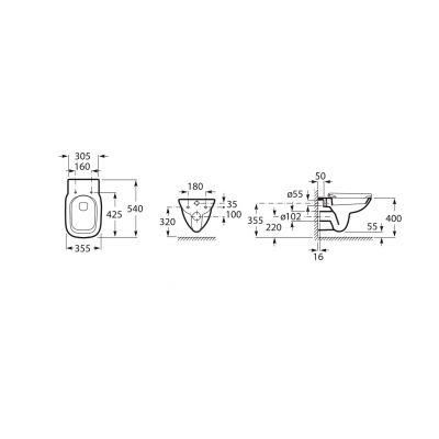 Zdjęcie Miska podwieszana WC Rimless Square  z deską wolnoopadającą SLIM (zestaw) Roca Debba 35,5×54 cm biały A34H993000