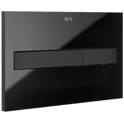 Zdjęcie Roca PL7 – przycisk podwójny spłukujący do WC czarny mat / szkło połysk A890188308