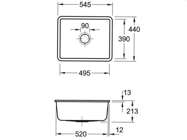 Zdjęcie Zlewozmywak ceramiczny podblatowy Villeroy & Boch Subway 60 SU biały 545 x 440 mm 331001KG