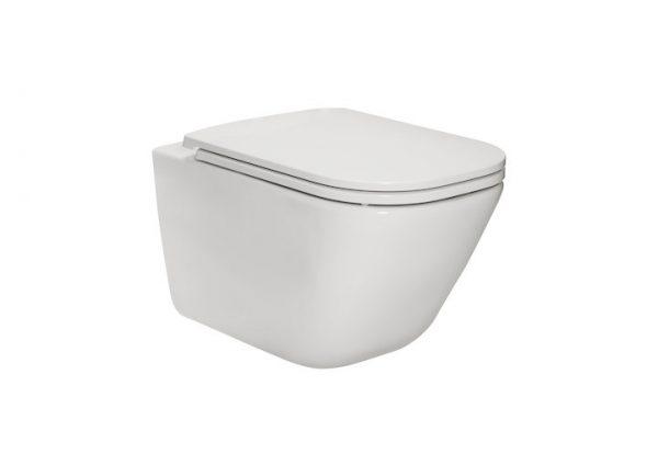 Zdjęcie Miska podwieszana WC Rimless Square z deską wolnoopadającą (zestaw) Roca Gap 54×34,7 cm biały A34H470000
