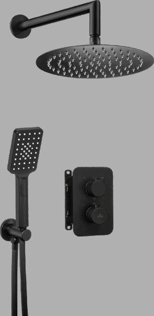 Deante Box Komplet z boxem podtynkowym termostatycznym okrągły Nero BXYZNEBT