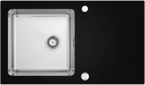 Deante Pallas Zlewozmywak szklano-stalowy 1-komorowy z ociekaczem ZSP_0X2C