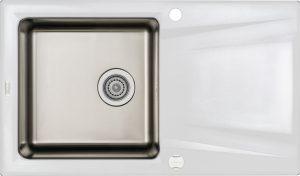 Deante Prime Zlewozmywak granitowo-stalowy 1-komorowy z ociekaczem - alabaster ZSR_A113