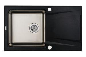 Deante Prime Zlewozmywak granitowo-stalowy 1-komorowy z ociekaczem - grafit metalik ZSR_G113