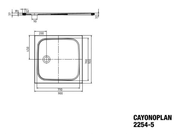 Zdjęcie Brodzik kwadratowy Kaldewei Cayonoplan 2254-5 900x900x185mm Obniżony nośnik Antypoślizg Biały 361447930001