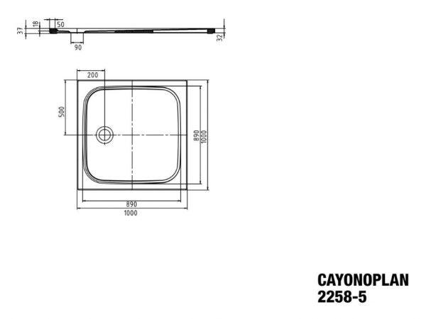 Zdjęcie Brodzik kwadratowy Kaldewei Cayonoplan 2258-5 1000x1000x185mm Obniżony nośnik Biały 361847980001