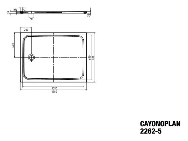 Zdjęcie Brodzik prostokątny Kaldewei Cayonoplan 2262-5 800x1200x18,5mm Obniżony nośnik Biały 362247980001