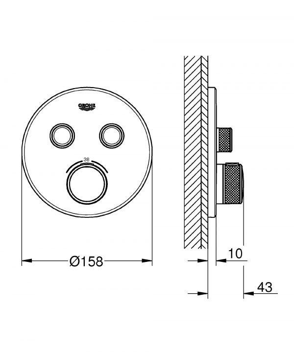 Zdjęcie Bateria termostatyczna do obsługi dwóch wyjść wody Grohe Grohtherm SmartControl hard graphite 29119A00