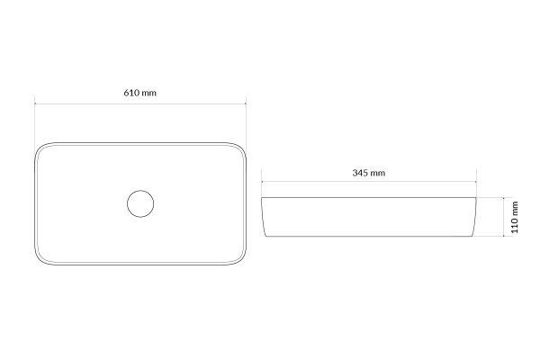Zdjęcie Umywalka nablatowa Actima – Excellent – Actima Cori 61×34,5 cm prostokątna biały CEAC.3301.610.WH