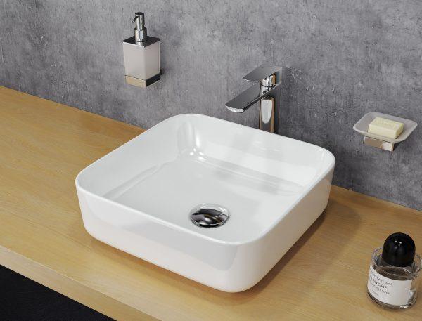 Zdjęcie Umywalka nablatowa Actima – Excellent Cori 38,5×38,5 cm kwadratowa biały CEAC.2201.WH