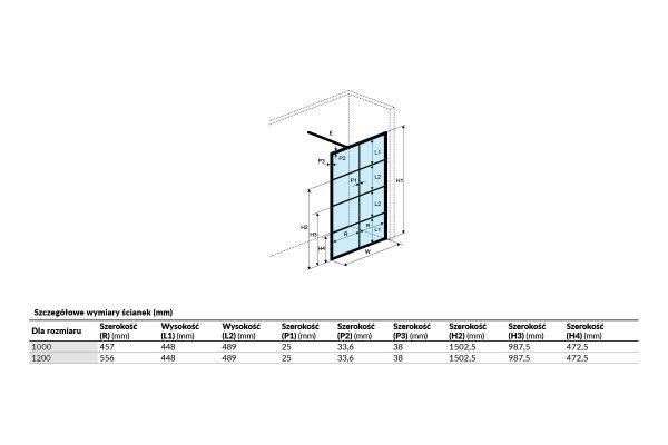 Zdjęcie Ścianka prysznicowa Excellent Fabrika Walk-in 100×200 czarny KAEX.4006.1000.LP