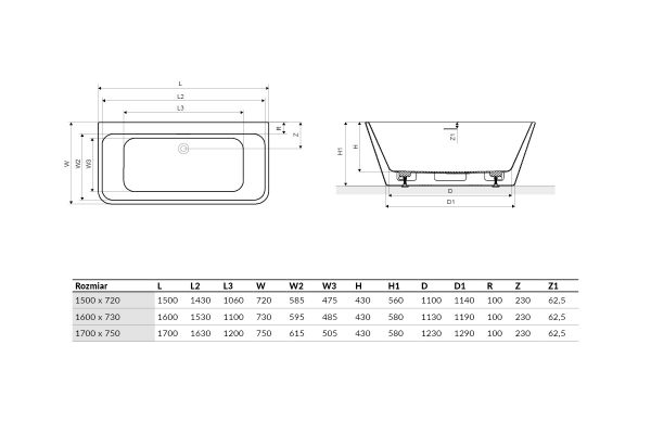 Zdjęcie Wanna wolnostojąca przyścienna Excellent Lila 2.0 160×73 cm biały WAEX.LIL2.160.WHP