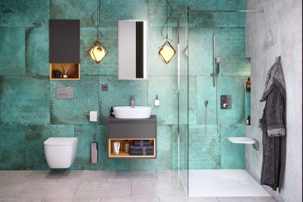 Zdjęcie Szafka z blatem pod umywalkę nablatową Excellent Tuto 60 cm Szary/Dąb MLEX.0102.600.GRBL
