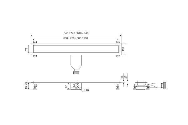 Zdjęcie Odpływ Liniowy Excellent Stilio 70 cm stal nierdzewna INEX.1515.700
