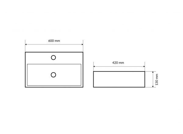 Zdjęcie Umywalka nablatowa Actima – Excellent Rima 60×42 cm prostokątna biały CEAC.1901.600.WH