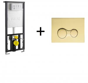 Stelaż podtynkowy Vitra + przycisk Złoty 742-5800-01+740-0424