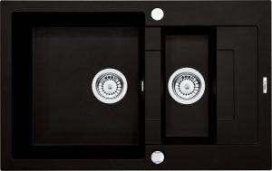 Zlewozmywak 1,5-komorowy Deante Rapido z krótkim ociekaczem - nero ZQK_N513