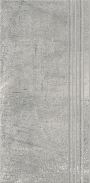 Stopnica prosta nacinana Paradyż Hybrid Stone Grys 29,8x59,8 cm