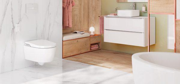 Zdjęcie Toaleta myjąca podwieszana Roca Inspira Rimless, zasilanie 230V A803060001 + stelaż DUPLO SMART WC A890090800