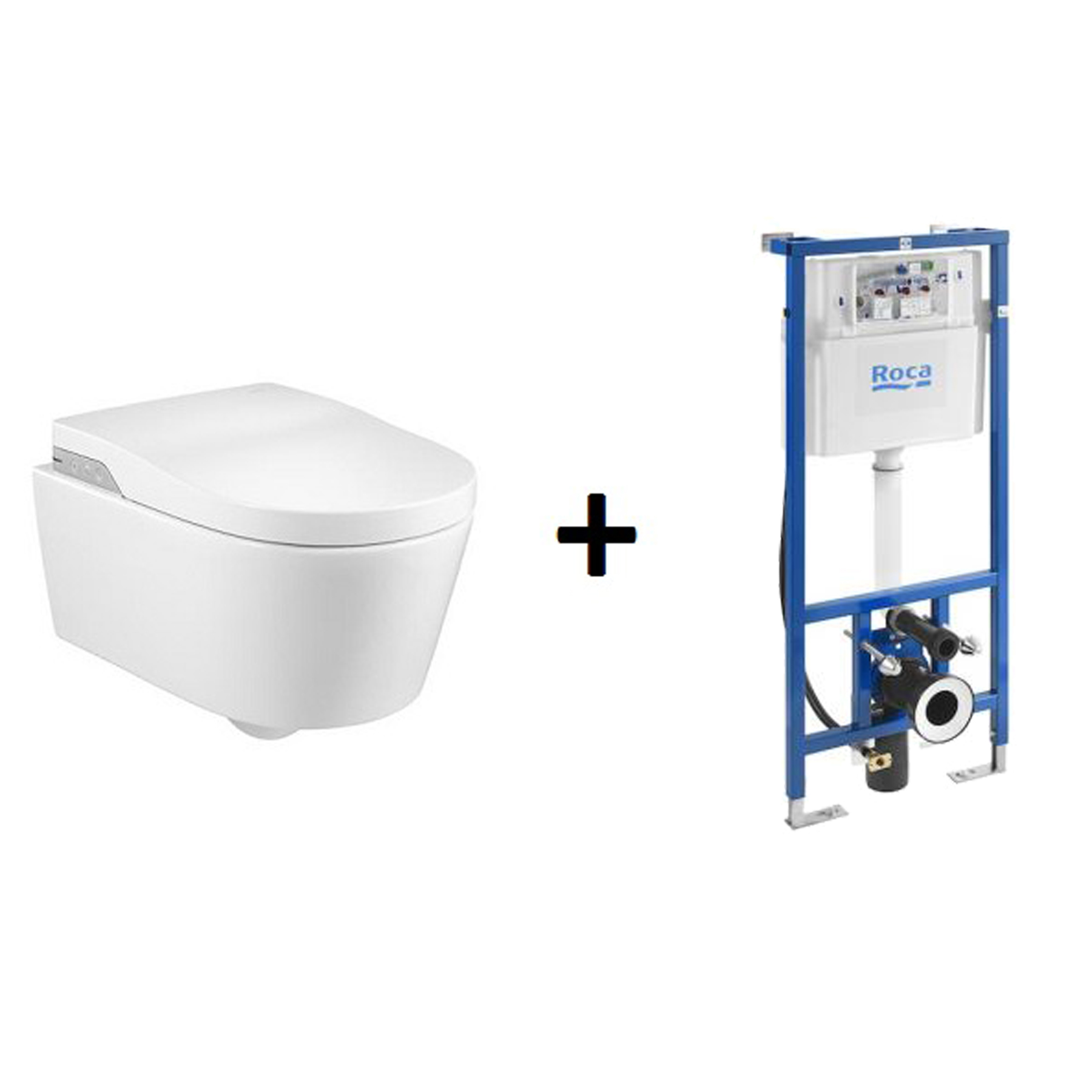 Toaleta myjąca podwieszana Roca Inspira Rimless, zasilanie 230V A803060001 + stelaż DUPLO SMART WC A890090800