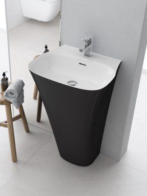 Umywalka przyścienna wolnostojąca Marmite Noa z konglomeratu bicolor 85x51,9x45 cm NOA0006