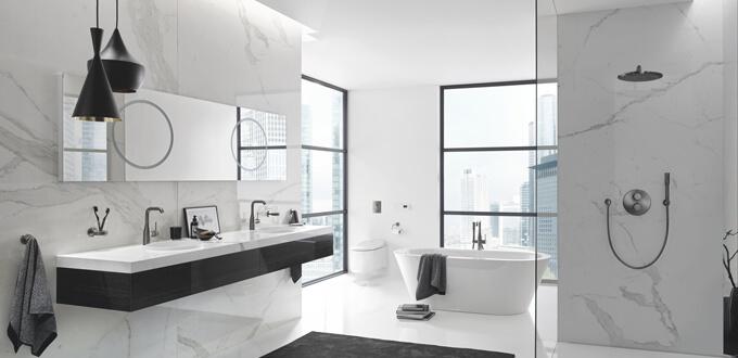 Łazienka z wykorzystanie systemu prysznicowego podtynkowego