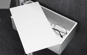 Zamykana półka prysznicowa Drybox Huppe Select+ srebrny matowy SL2201087