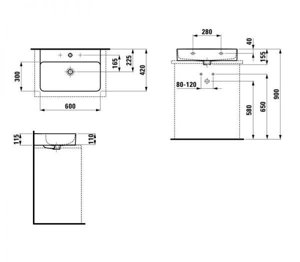 Zdjęcie Umywalka nablatowa Laufen Val 60×42 cm bez otworu z przelewem biały H8162830001091