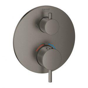 Termostatyczna bateria prysznicowa do obsługi dwóch wyjść wody Grohe Atrio brushed hard graphite 24135AL3