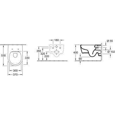 Zdjęcie Miska WC wisząca + deska wolnoopadająca Villeroy & Boch Avento Combi-Pack CeramicPlus Weiss Alpin 5656HRR1
