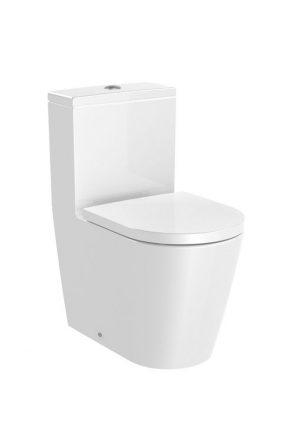 Miska WC do kompaktu Rimless o/podwójny Roca Inspira Round 37,5x60 cm biały A342529000
