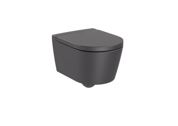 Zdjęcie Miska WC wisząca Roca Inspira Round Rimless Compacto 37×48 cm onyks A346528640