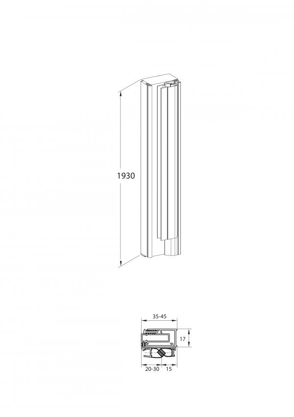 Zdjęcie Profil ścienny z uszczelką magnetyczną do wnęki Roca Capital AM48195020