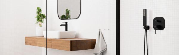 Zdjęcie Bateria umywalkowa stojąca wysoka Laveo Polla czarny BAP_72ND