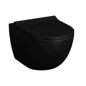 Miska WC wisząca Vitra Sento 54x36,5 cm czarny mat 7748B083-0075 + Deska wolnoopadająca WC Vitra Sento czarny mat 120-083R009