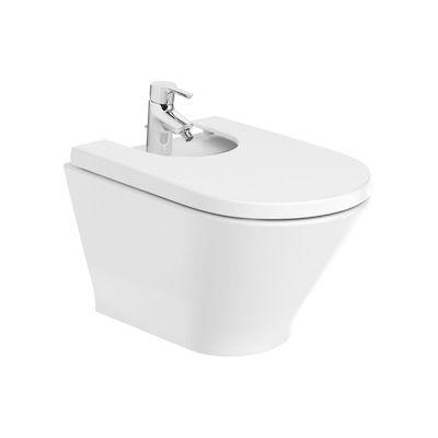 Bidet podwieszany (ukryte mocowania) Roca Gap Round 35,5x54 cm biały Maxi Clean A3570N6000