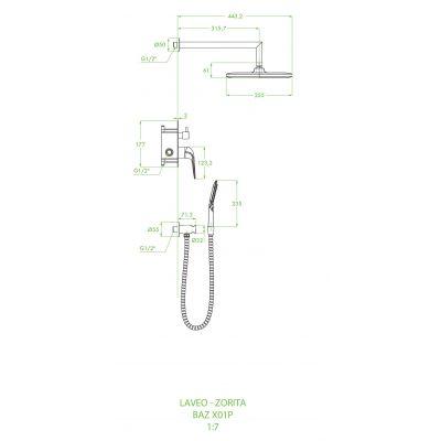 Zdjęcie Zestaw prysznicowy podtynkowy Laveo Zorita czarny / chrom BAZ_701P