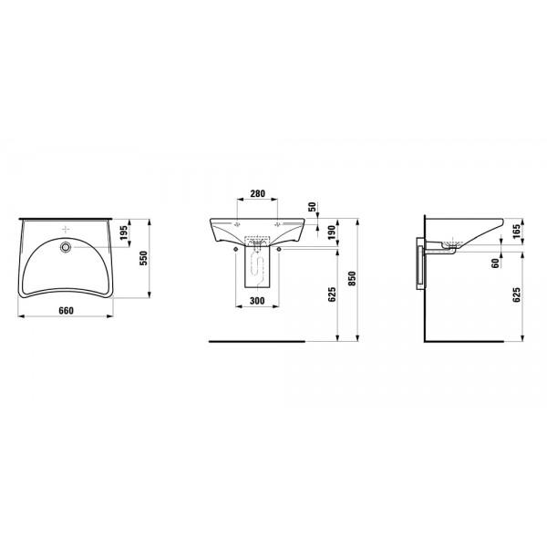Zdjęcie Umywalka podwieszana Roca Dostępna Łazienka 66×55 cm biały WM8810ACZ000001