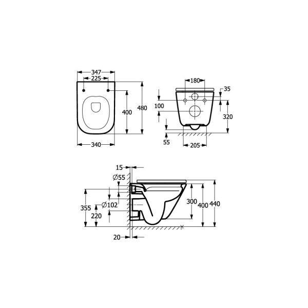 Zdjęcie Miska WC podwieszana Roca Gap Square Rimless Compacto 48×34 cm biały A34647A000